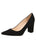Womens Black Suede Block Heel Pump