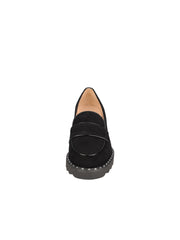 Womens Black Suede KAO LUG HEEL LOAFER 4