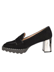 Womens Black Suede KAO LUG HEEL LOAFER 6