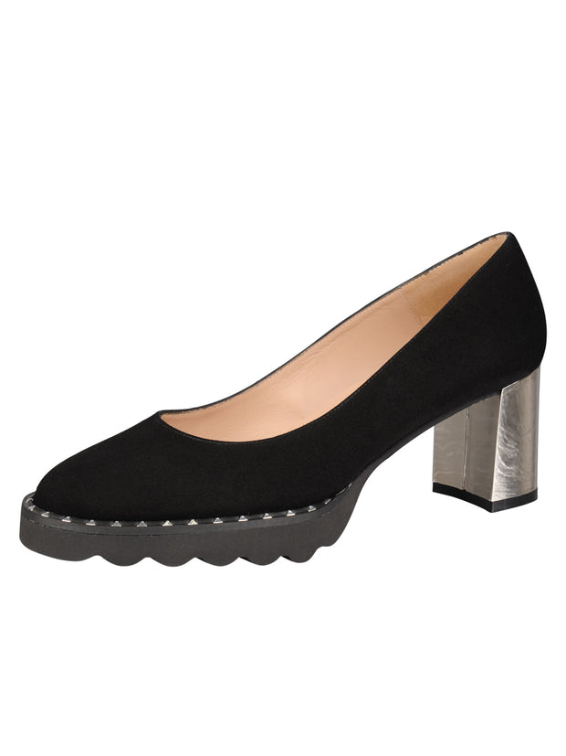 Womens Black Suede KATIE II LUG PUMP