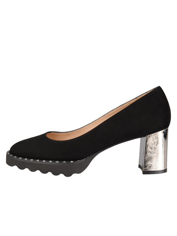 Womens Black Suede KATIE II LUG PUMP 6