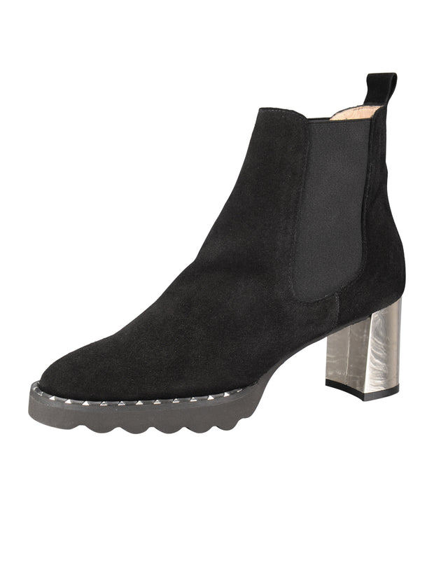 Womens Black Suede KING II ELASTISIZED BOOTIE