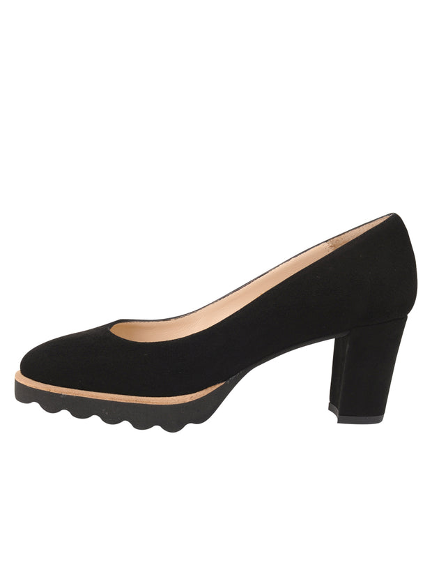 Womens Black Suede Katie Lug Pump 6