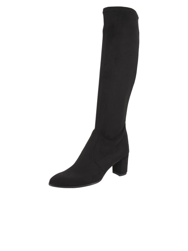 Womens Black Suede LIBERTY HIGH HEEL BOOT