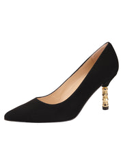 Womens Black Suede Nova Pointed Toe High Heel Pump