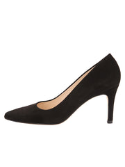 Womens Black Suede High Heel Pump 6