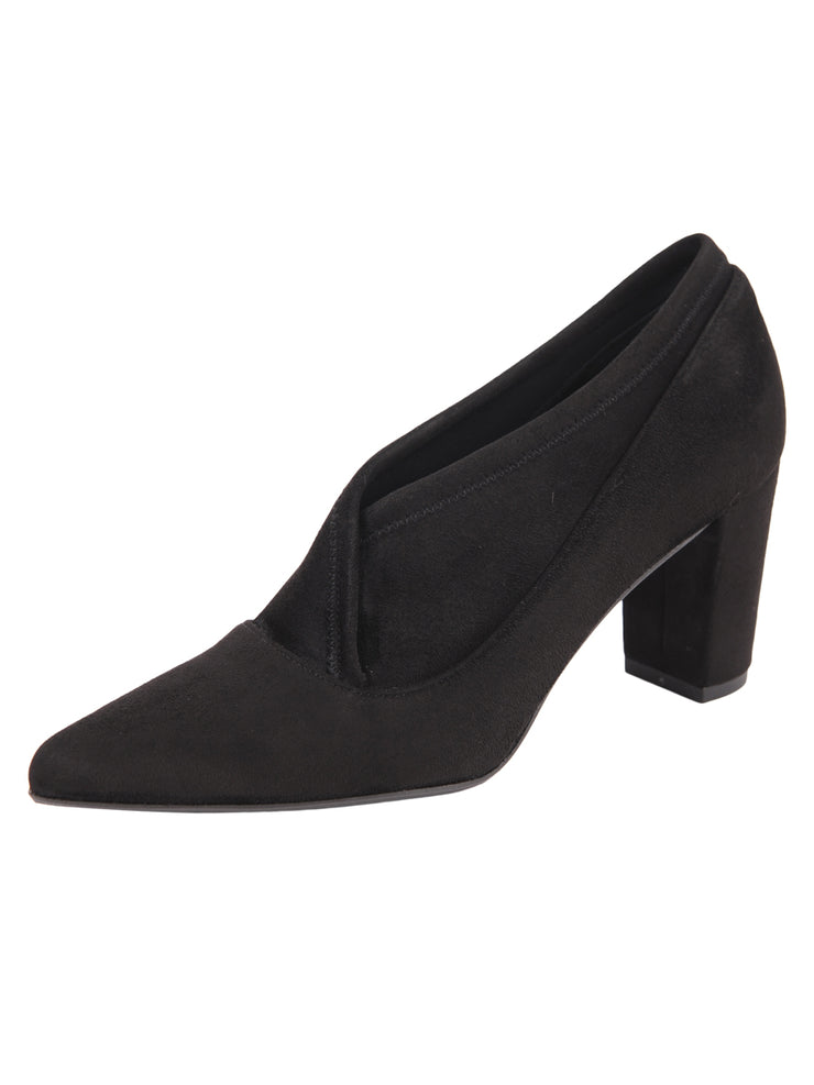 Black suede pointed toe bootie