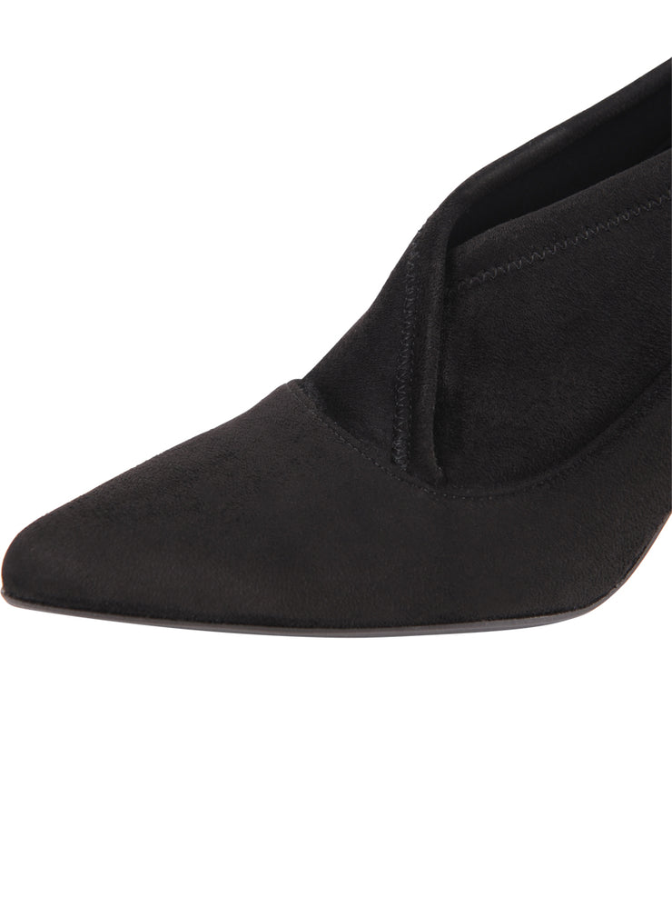 Black suede pointed toe bootie 6