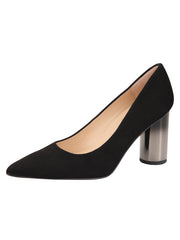 Womens Black Suede Pull Pointed Toe Pump