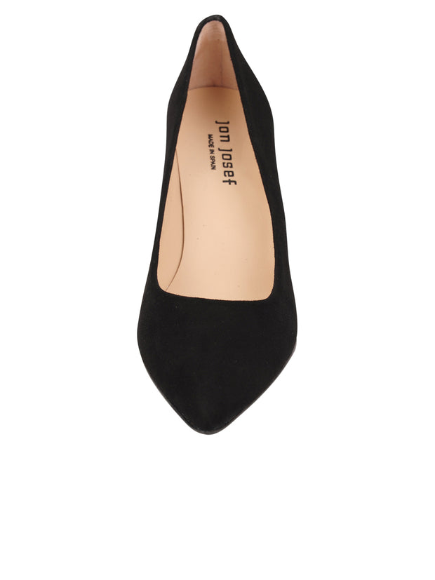 Womens Black Suede Pull Pointed Toe Pump 4