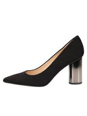 Womens Black Suede Pull Pointed Toe Pump 6