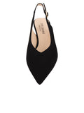 Womens Black Suede Slingback Pump 4