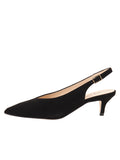 Womens Black Suede Slingback Pump 6