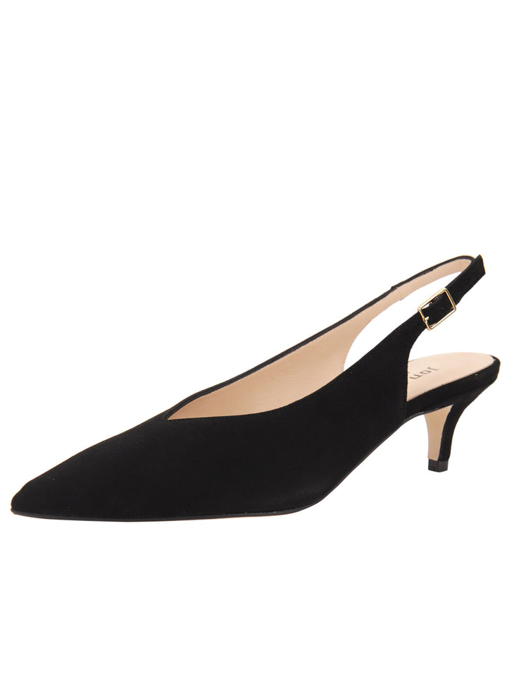 Womens Black Suede Slingback Pump