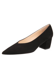 Womens Black Suede Mid-Heel Pump