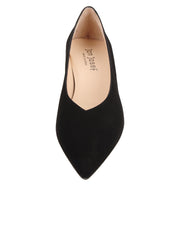 Womens Black Suede Mid-Heel Pump 4