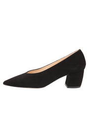 Womens Black Suede Mid-Heel Pump 6
