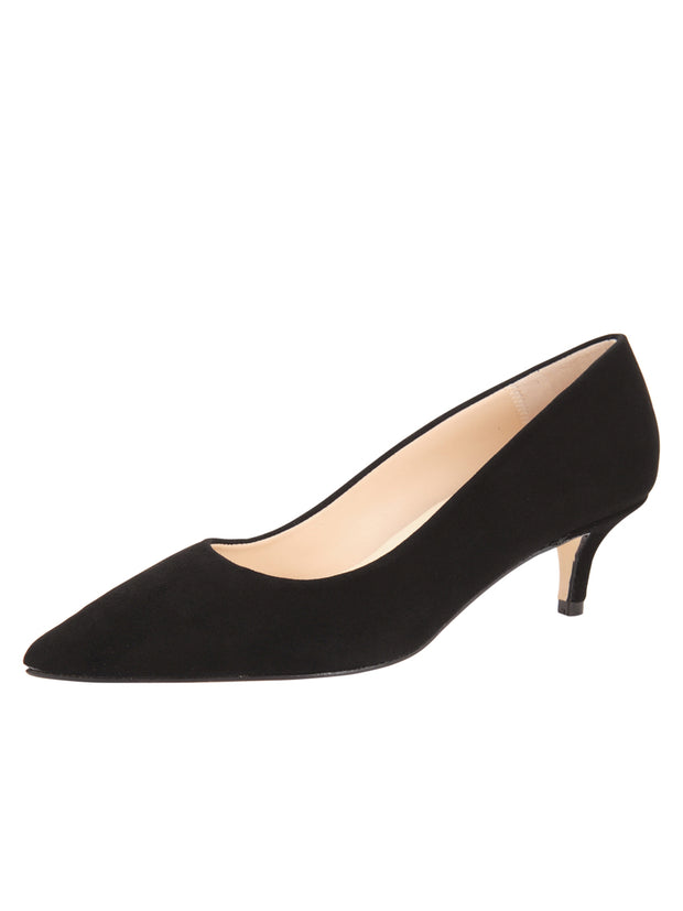 Womens Black Suede Kitten Heel
