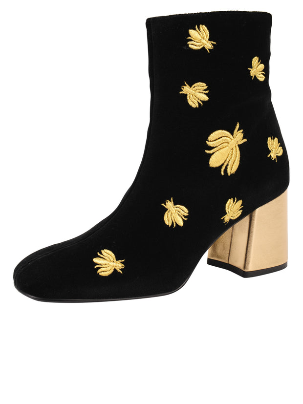 Womens Black Velvet/Gold Tabata Ii Bee Boot
