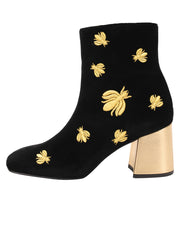 Womens Black Velvet/Gold Tabata Ii Bee Boot 6