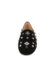 Womens Black Velvet GATSBY JEWEL STUDDED FLAT 4