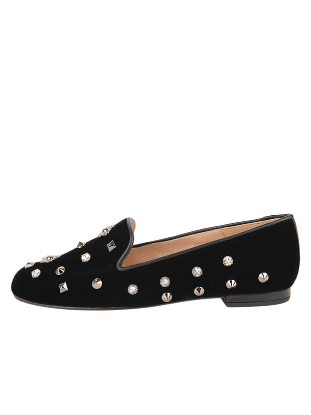 Womens Black Velvet GATSBY JEWEL STUDDED FLAT 6