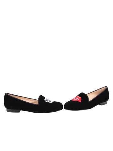 Womens Black Velvet Keepcalm Flat 5 Alternate View