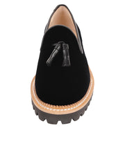 Womens Black Velvet Lug Shoe 4