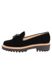 Womens Black Velvet Lug Shoe 6