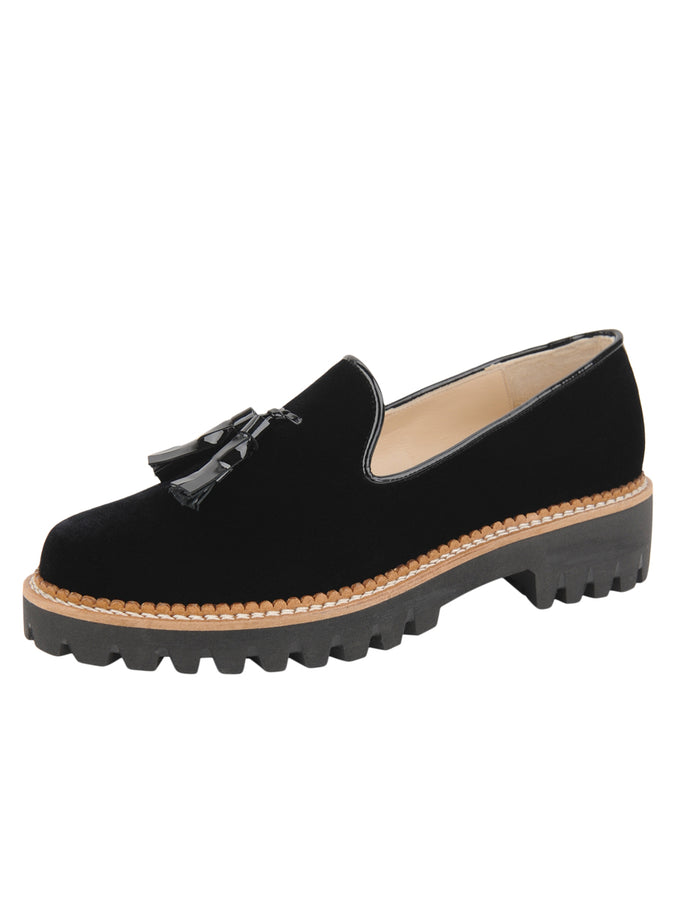 Womens Black Velvet Lug Shoe