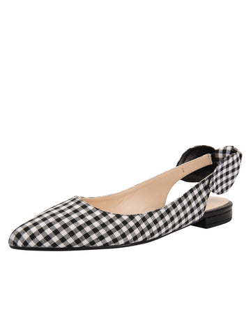 Womens Black White Combo Marni Pointed Toe Gingham Flat