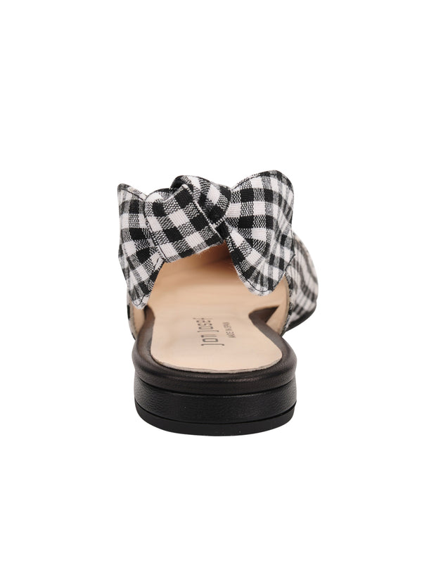 Womens Black White Combo Marni Pointed Toe Gingham Flat 4