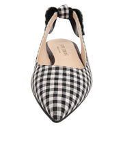 Womens Black White Combo Marni Pointed Toe Gingham Flat 5