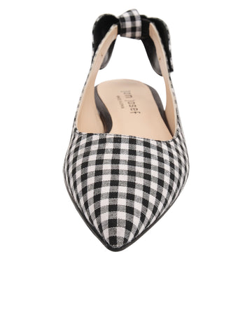 Womens Black White Combo Marni Pointed Toe Gingham Flat 5 Alternate View