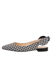 Womens Black White Combo Marni Pointed Toe Gingham Flat 6