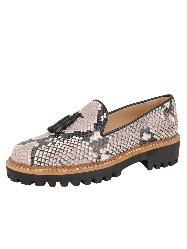 Womens Black/White Snake Lug Shoe