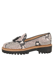 Womens Black/White Snake Lug Shoe 6