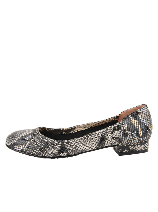 Womens Black/White Snake Maya Rock And Roll Flat 6