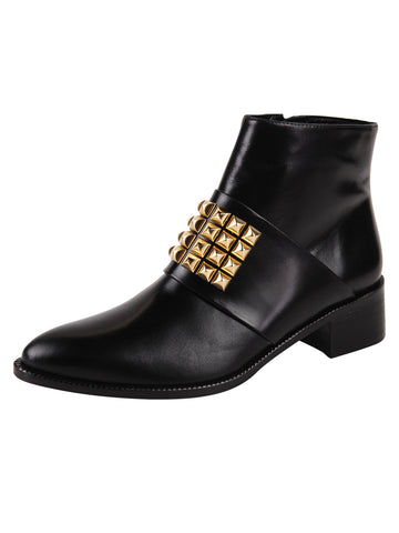 Leather pointed toe bootie with gold studs