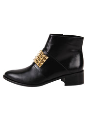 Leather pointed toe bootie with gold studs  7