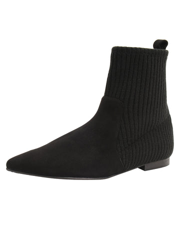 Womens Black Merlot Flat Sock Bootie