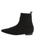 Womens Black Merlot Flat Sock Bootie 6