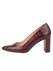 Womens Brown Croc Leather JASMINE Block Heel Pump 6