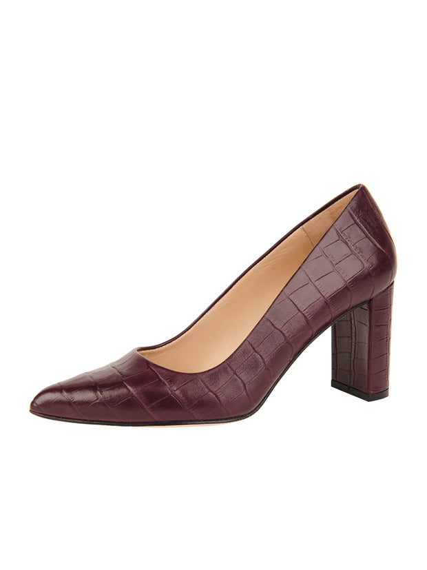 Womens Brown Croc Leather JASMINE Block Heel Pump