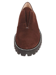 Womens Brown Suede  Lug Loafer 5