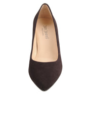 Womens Brown Suede  Block Heel Pump 4