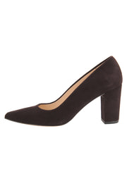 Womens Brown Suede  Block Heel Pump 6