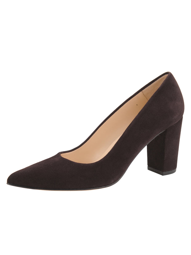Womens Brown Suede  Block Heel Pump