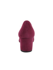 Womens Burgundy Suede Mid-Heel Pump 4