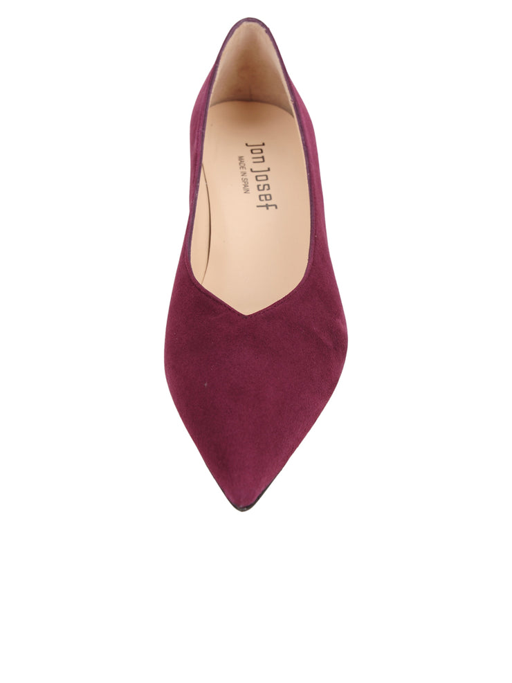 Womens Burgundy Suede Mid-Heel Pump 5